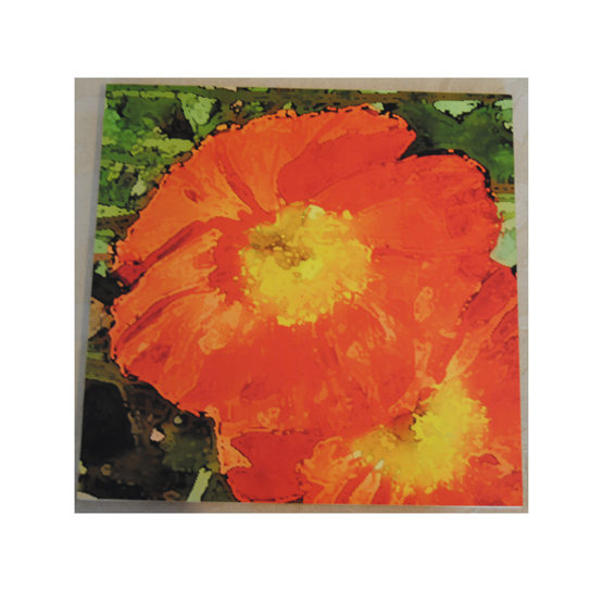 Orange Poppy Wood Art