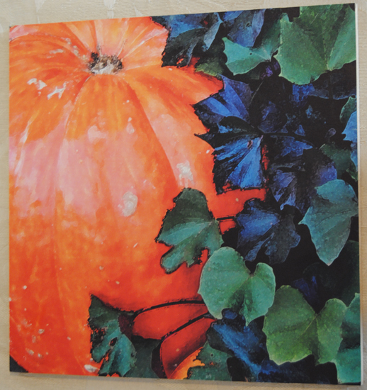 Pumpkin with Leaves Wood Art