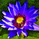 Water Lily Blue Wood Art